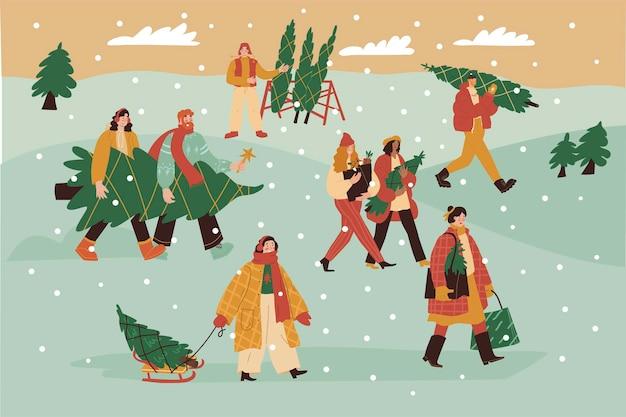 Kerstmarkt mensen kopen kerstboom op de markt besneeuwde dag buiten mannen en vrouwen