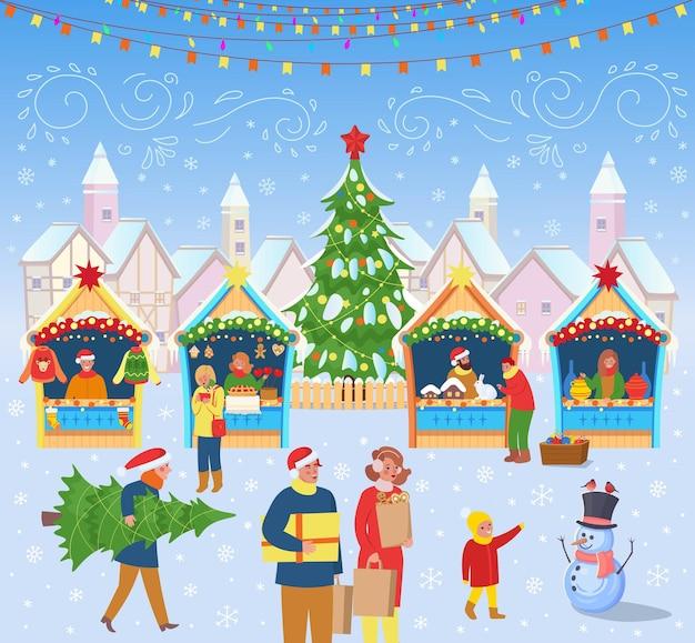 Kerstmarkt met mensen een kerstboomcarrousel met paarden en huizen. vector.