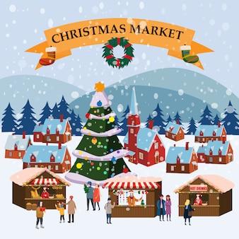 Kerstmarkt openluchtmarkt op stadsplein