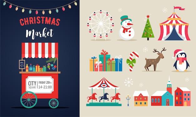 Kerstmarkt pictogrammen instellen