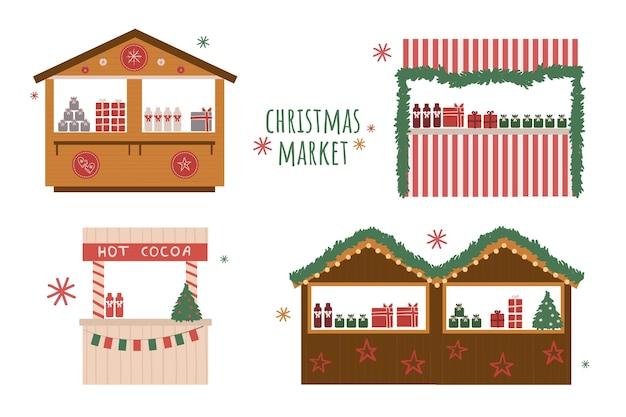 Kerstmarkt set illustraties met feestelijk decor en slingers