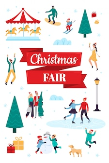Kerstmarkt. wintervakantie poster, sneeuwfestival en kerstviering vectorillustratie