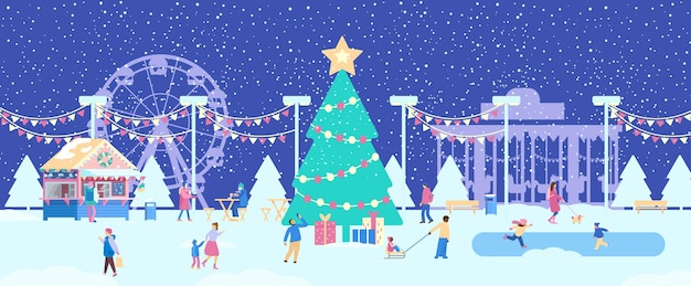 Kerstmarktbanner winterpretpark met kleine mensen winterpanorama in de openbare tuin