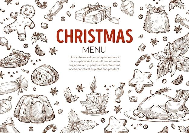 Kerstmenu met eten en cadeautjes, kopieer ruimte. pudding- en pluimveevlees, peperkoekkoekjes en cadeau, maretak en kaars met brandende vlam. monochroom schetsoverzicht, vector in vlakke stijl