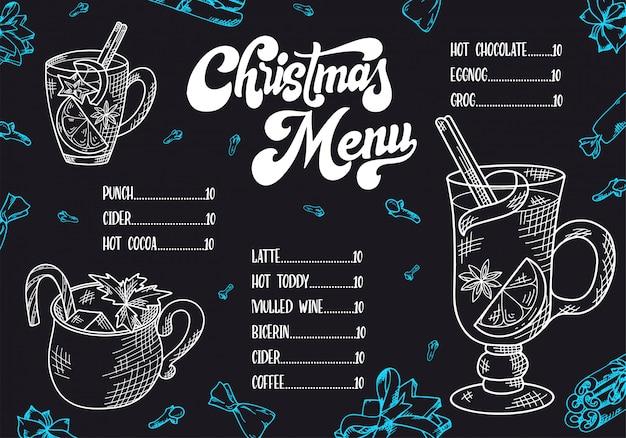 Kerstmenu met hand getrokken warme dranken.
