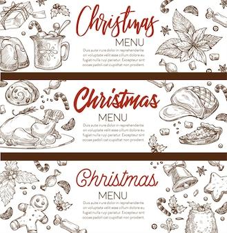 Kerstmenubanners met kalligrafische inscriptie en kopieerruimte. peperkoekkoekjes, ham en pudding, vlees en gebak voor kerstviering. monochroom schetsoverzicht, vector in vlakke stijl Premium Vector