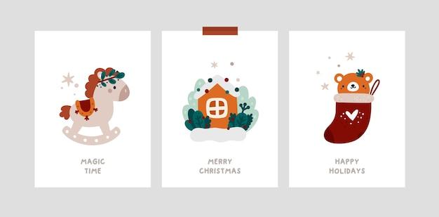Kerstmijlpaalkaarten voor baby's in scandinavische stijl. feestelijke kerst wenskaarten sjabloon