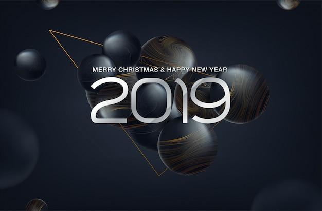 Kerstmis 2019 achtergrond met kerstmisbal