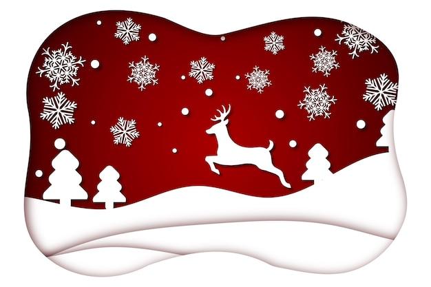 Kerstmis achtergrond in papierstijl