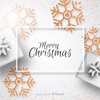 Kerstmis achtergrond met glitter elementen