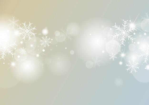 Kerstmis achtergrondconceptontwerp van witte sneeuwvlok en sneeuw met bokeh