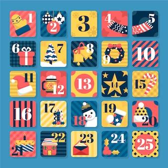 Kerstmis adventkalender met geometrische naadloze patronen