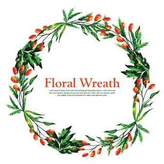 Kerstmis aquarel bloemen krans