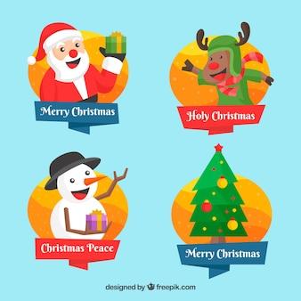Kerstmis badges met de belangrijkste elementen