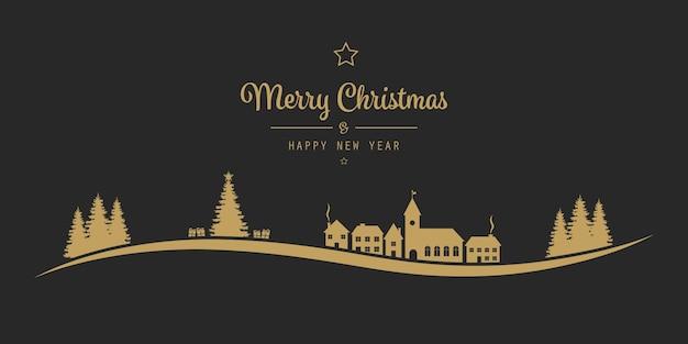 Kerstmis belettering winterlandschap dorp gouden zwart