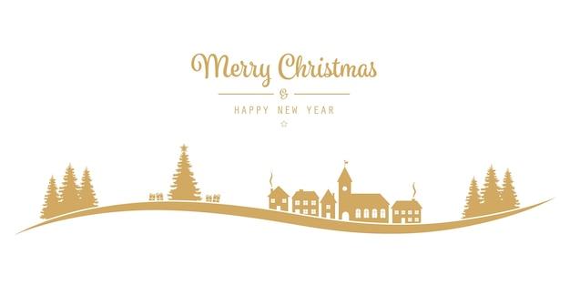 Kerstmis belettering winterlandschap dorp gouden
