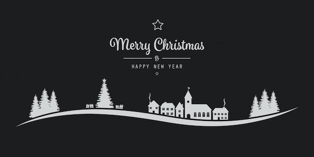 Kerstmis belettering winterlandschap dorp zwarte achtergrond