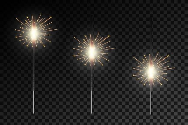 Kerstmis bengaals vuur gloeit licht vonken