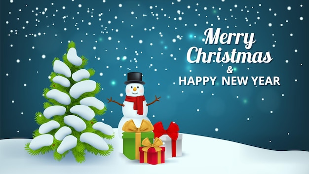 Kerstmis besneeuwde achtergrond. sneeuwpop geschenken x-mas tree, nieuwjaar feestelijke banner vectorillustratie. vakantie kerst en sneeuwpop groet, besneeuwde scène kerstkaart