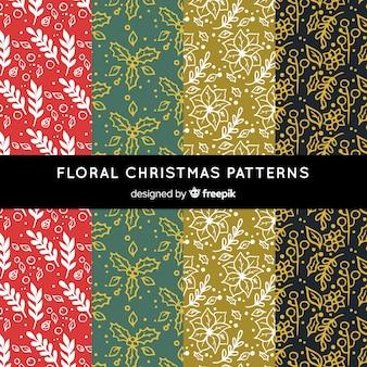 Kerstmis bloemen gouden patroon