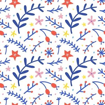 Kerstmis bloemen naadloos patroon
