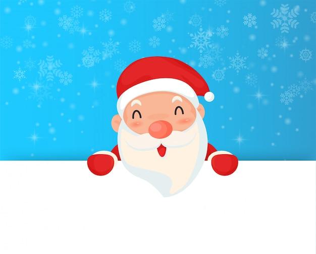 Kerstmis de kerstman en sneeuwvlok met lege banner.