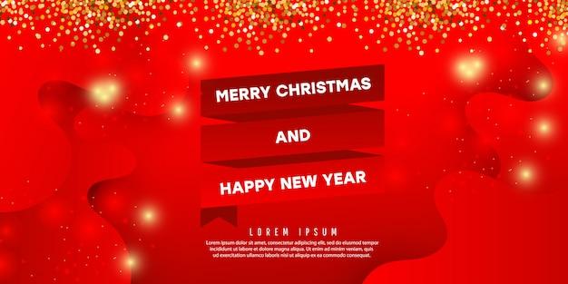 Kerstmis decoratieve samenstelling met vorm van de kleuren de vloeibare golf met schaduwen op een rode achtergrond