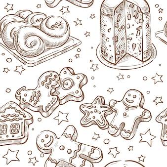 Kerstmis die de naadloze vector tekening van de schetshand bakken