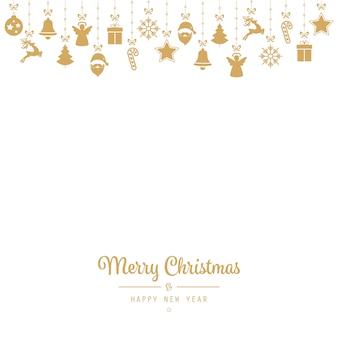 Kerstmis die gouden ornamentelementen begroeten
