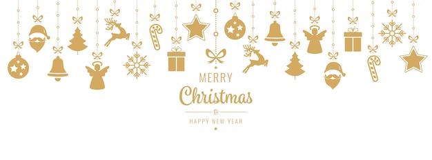 Kerstmis die het gouden ornamentelementen hangen geïsoleerd hangen