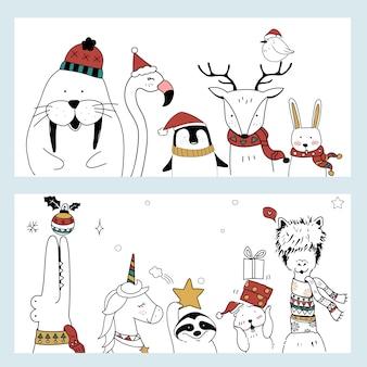 Kerstmis dierlijke banner