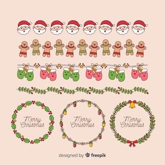 Kerstmis elementen kaders en randen