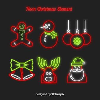 Kerstmis elementen neon teken