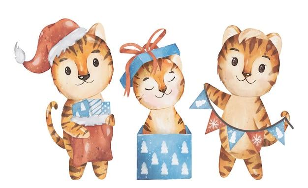 Kerstmis en 2022 nieuwjaar illustratie gelukkig tijger familie aquarel vector design