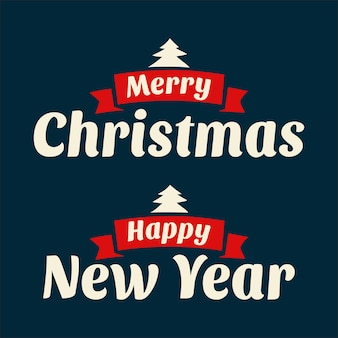 Kerstmis en een gelukkig nieuwjaar. vintage vectorillustratie voor wenskaart, poster, flayer, web, banner. donkere achtergrond.