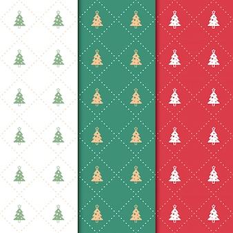 Kerstmis en gelukkig nieuw jaarpatroon. naadloos minimaal kerstmispatroon met boom en ster.