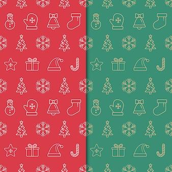 Kerstmis en gelukkig nieuw jaarpatroon. naadloos minimaal kerstmispatroon met ornament.