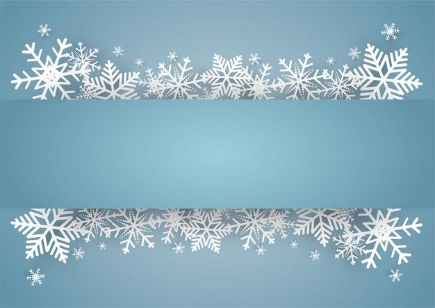 Kerstmis en gelukkig nieuwjaar blauwe vector achtergrond met sneeuwvlok