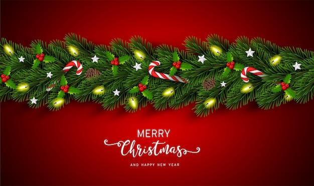 Kerstmis en gelukkig nieuwjaar garland achtergrond