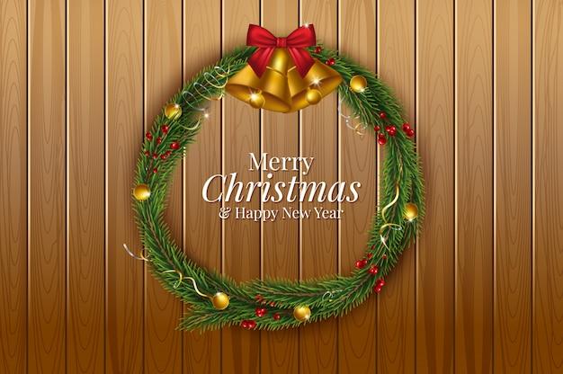 Kerstmis en gelukkig nieuwjaar garland en rand van realistisch ogende kerstboom takken