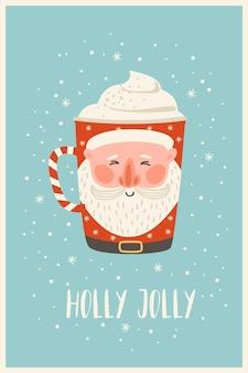 Kerstmis en gelukkig nieuwjaar illustratie met kerst drankje. trendy retro-stijl. vector ontwerpsjabloon.