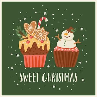 Kerstmis en gelukkig nieuwjaar illustratie met kerst snoep. trendy retro-stijl. vector ontwerpsjabloon.