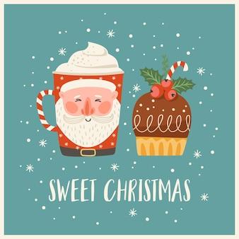 Kerstmis en gelukkig nieuwjaar illustratie met kerst zoet en drankje. trendy retro-stijl. vector ontwerpsjabloon.