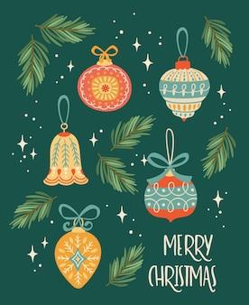 Kerstmis en gelukkig nieuwjaar illustratie met kerstversiering. trendy retro stijl.
