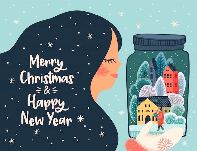 Kerstmis en gelukkig nieuwjaar illustratie met leuke vrouw.