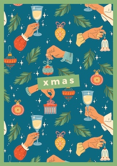 Kerstmis en gelukkig nieuwjaar illustratie met mannelijke en vrouwelijke handen. trendy retro stijl.