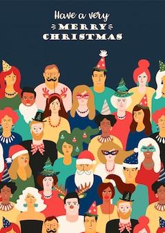Kerstmis en gelukkig nieuwjaar illustratie met mensen in carnaval kostuums.