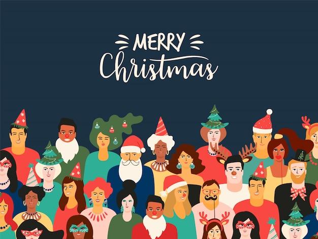 Kerstmis en gelukkig nieuwjaar illustratie met mensen in carnaval kostuums