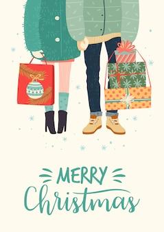 Kerstmis en gelukkig nieuwjaar illustratie met romantisch paar met geschenken