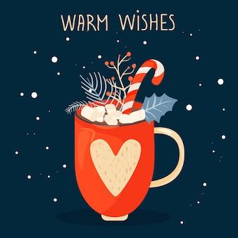 Kerstmis en gelukkig nieuwjaar illustratie mok van cacao hulst bladeren en kerst lolly